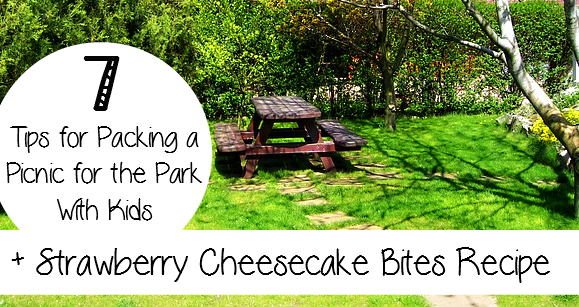 7 Tips for Packing a Picnic for the Park With Kids + Strawberry Cheesecake Bites Recipe