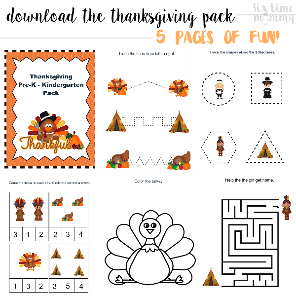 FREE Pre-K - Kindergarten Thanksgiving Printable Pack! - sixtimemommy.com