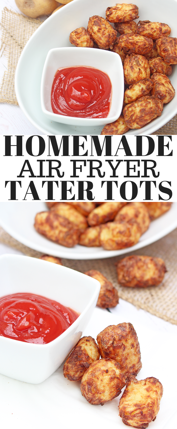 Homemade Air Fryer Tater Tots - toss the bags of tater tots and make your own! With less oil and more flavour these will quickly become a family favourite!