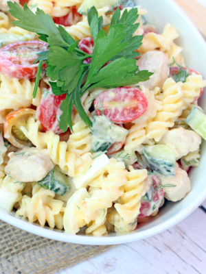Cold Gluten Free Chicken Salad Pasta