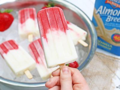 Strawberry and Vanilla Almond Breeze Yogurt Pops