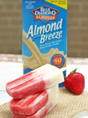 Strawberry and Vanilla Almond Breeze Yogurt Pops