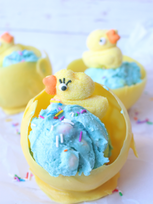 Kid-Friendly Easter Dessert: Homemade Bubblegum Egg Ice Cream With A Chocolate Nest Bowl