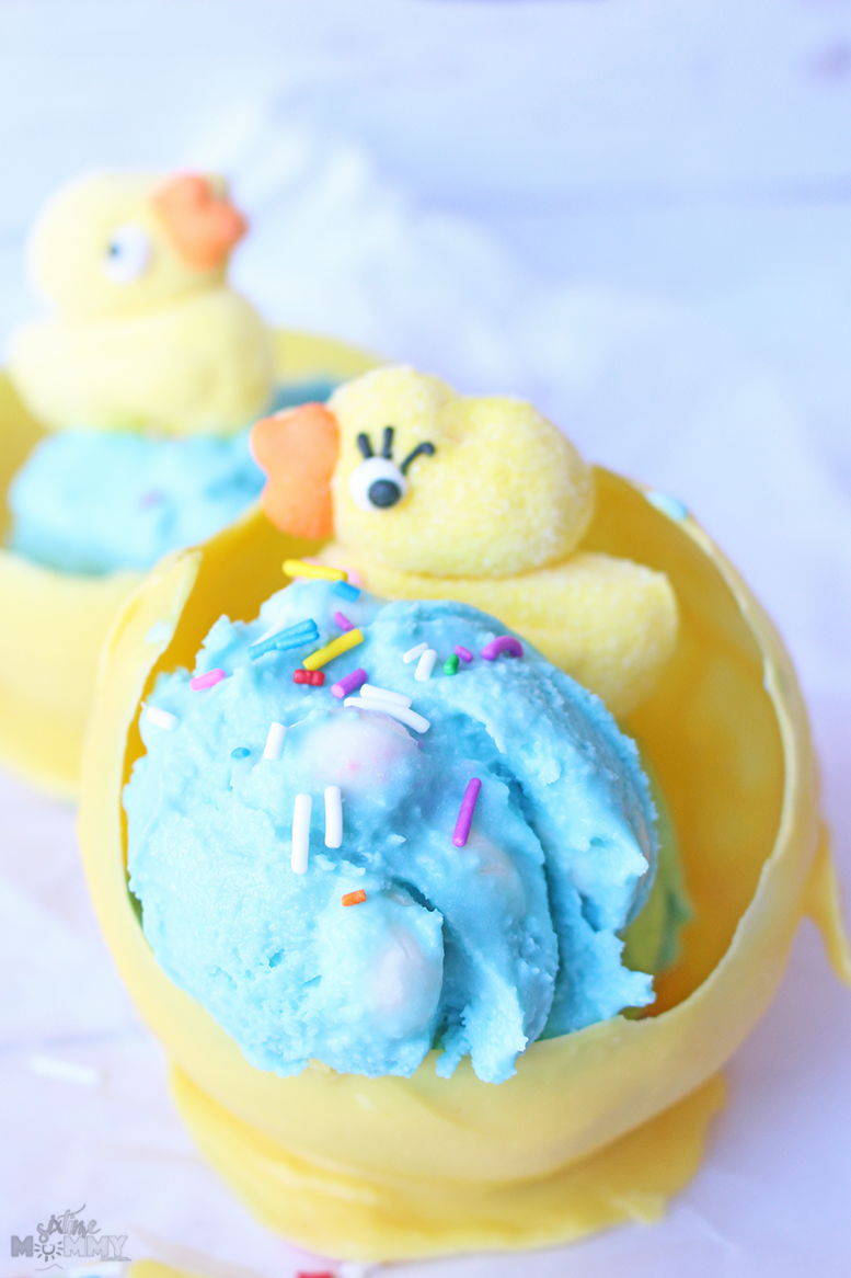 Easter Bubble Gum Ice Cream With Chocolate Nest Bowls - sixtimemommy.com