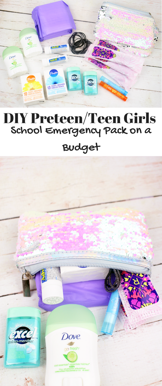 DIY Preteen/Teen Girls School Emergency Pack on a Budget