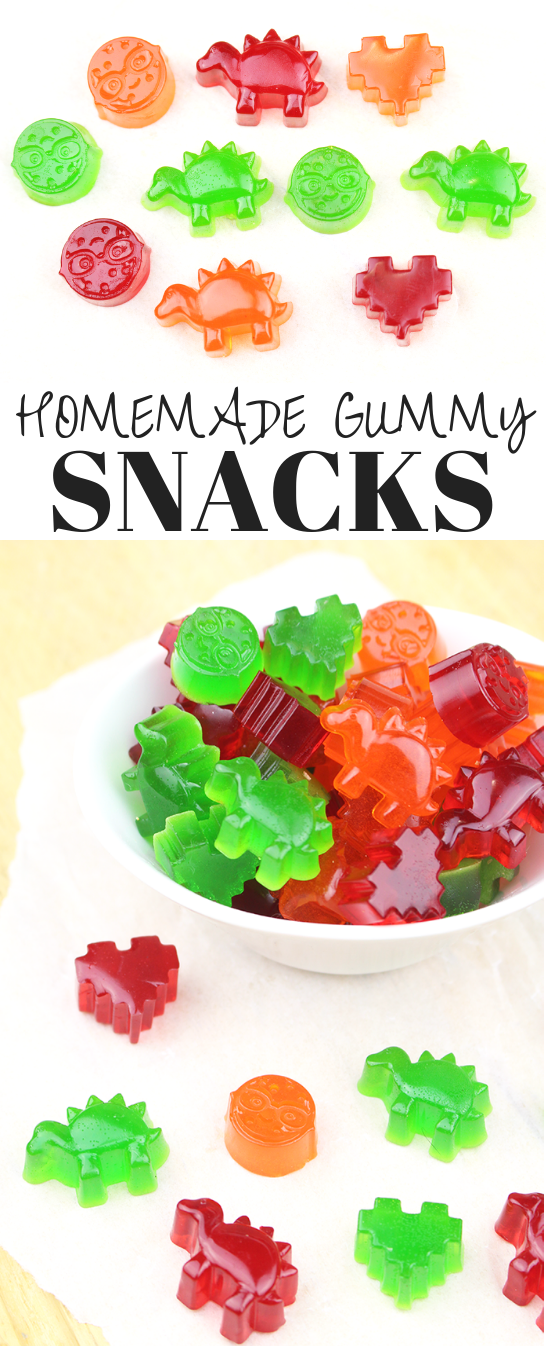 These Homemade Gummy Snacks are the perfect addition to the lunchbox or on-the-go! They are so simple to make and fun to eat - the little ones will love them!