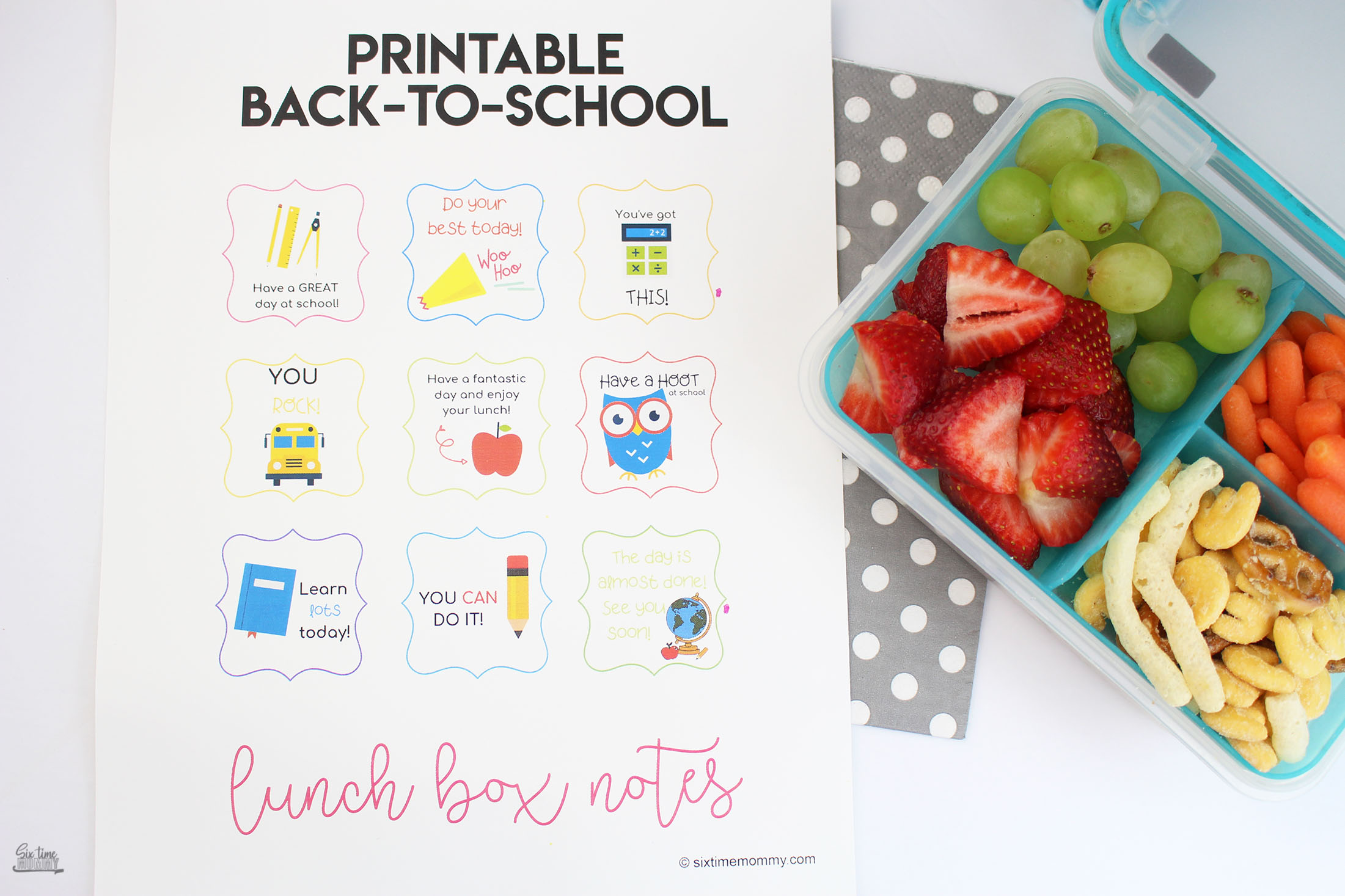 Back-to-School Printable Lunchbox Notes